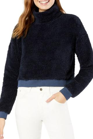 All Time Cropped Pullover- Nocturnal Navy Sherpa