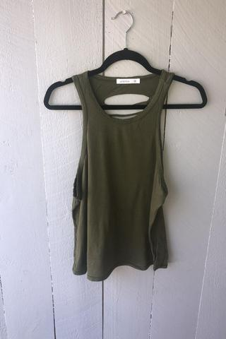 Cotton Modal Slash Tank- Army