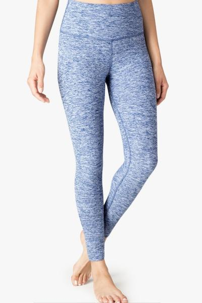High Waisted Midi Legging- Indigo White
