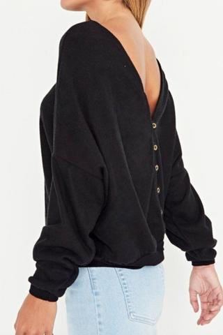 All The Feels Button Back Top - Black