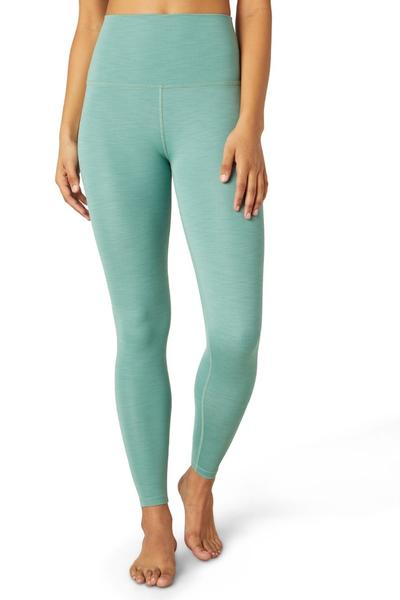 Heather Rib High Waist Midi Legging - Mermaid Green Heather